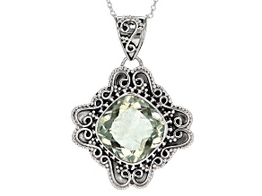 Pre-Owned Green Prasiolite Sterling Silver Pendant With Chain 15.00ct