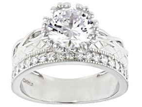 Pre-Owned White Cubic Zirconia Rhodium Over Sterling Silver Ring 3.92ctw