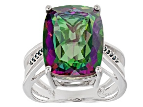 Pre-Owned Green Mystic Fire(R) topaz rhodium over silver ring 9.34ctw
