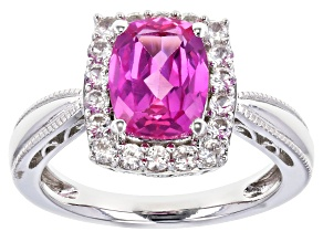 Pre-Owned Pink Lab Created Sapphire Rhodium Over Sterling Silver Ring 2.53ctw