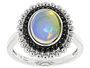 Pre-Owned Opal Rhodium Over Sterling Silver Ring