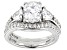 Pre-Owned White Cubic Zirconia Platinum Over Sterling Ring With Band 4.03ctw
