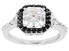 Pre-Owned Bella Luce ® Black And White Diamond Simulants Rhodium Over Sterling Silver Ring