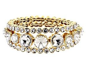 Pre-Owned  White Crystal Gold Tone Coil Adjustable Bracelet