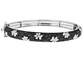 Pre-Owned Black Spinel Rhodium Over Sterling Silver Bangle bracelet 3.47ctw