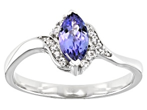 Pre-Owned Blue Tanzanite Rhodium Over Silver Ring .69ctw