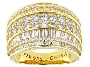 Pre-Owned White Cubic Zirconia 18K Yellow Gold Over Sterling Silver Ring 4.83ctw