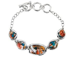 Pre-Owned Blended Turquoise And Spiny Oyster Shell Rhodium Over Silver Bracelet