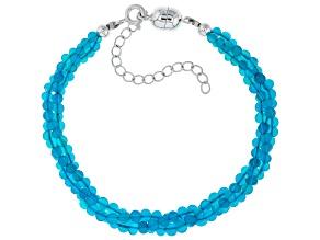 Pre-Owned Blue Opal Bead Sterling Silver Bracelet 15.00ctw