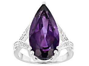 Pre-Owned Purple Amethyst Rhodium Over Sterling Silver Ring 7.41ctw