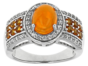 Pre-Owned Orange Ethiopian Opal Sterling Silver Ring 1.55ctw
