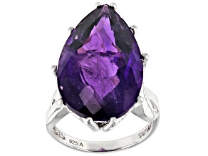 Pre-Owned African Amethyst Rhodium Over Sterling Silver Ring 17.00ctw