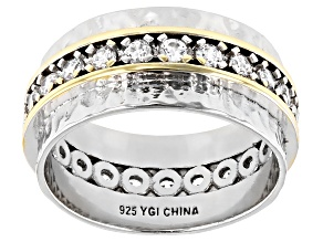 Pre-Owned White Cubic Zirconia Rhodium And 14K Yellow Gold Over Sterling Silver Band Ring 1.50ctw