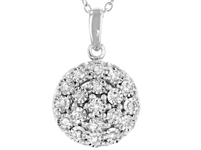Pre-Owned White Diamond Rhodium Over Sterling Silver Cluster Pendant With Chain 0.20ctw
