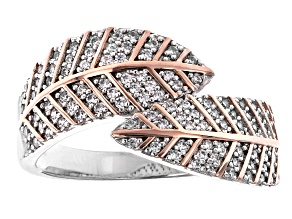 Pre-Owned White Cubic Zirconia Rhodium And 18K Rose Gold Over Sterling Silver Leaf Ring 0.65ctw