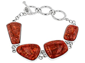 Pre-Owned Red Coral Rhodium Over Sterling Silver Toggle Bracelet