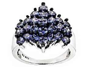 Blue Cubic Zirconia Silver Ring 4.80ctw