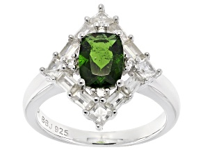 Green Russian Chrome Diopside Sterling Silver Ring 3.02ctw