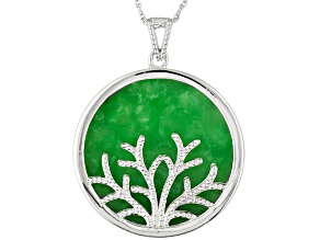 Green Jadeite Rhodium Over Sterling Silver Tree Pendant With Chain