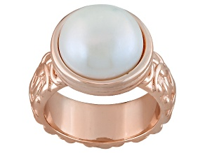 White Cultured Freshwater Pearl 18k Rose Gold Over Bronze Ring