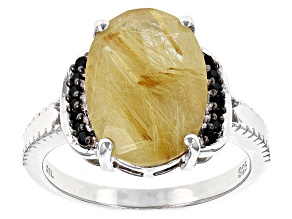 Yellow Rutilated Quartz Sterling Silver Ring 3.81ctw