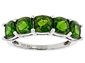Green Russian Chrome Diopside Sterling Silver Band Ring 3.02ctw