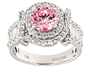 Pink And White Cubic Zirconia Rhodium Over Sterling Silver Ring 5.20ctw