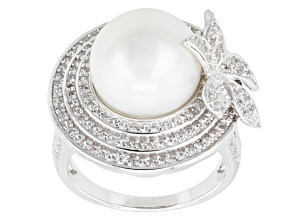 White Cultured Freshwater Pearl, White Zircon Silver Floral Ring