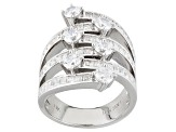 White Cubic Zirconia Rhodium Over Sterling Silver Ring 5.51ctw