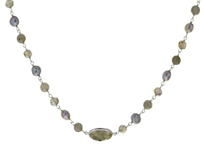Cultured Freshwater Pearl, Labradorite Silver Endless Strand Necklace 60 inch