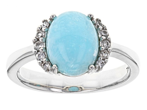 Blue Hemimorphite Sterling Silver Ring 2.89ctw