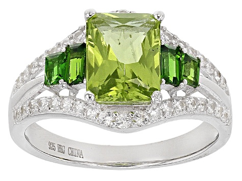 Green Peridot Sterling Silver Ring 2.75ctw