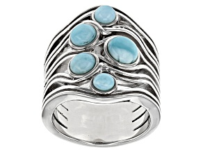 Blue Larimar Sterling Silver Ring 2.77ctw