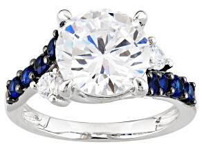 White Cubic Zirconia And Lab Created Sapphire Silver Ring 7.61ctw