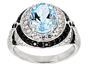 Blue Topaz Sterling Silver Ring 4.14ctw