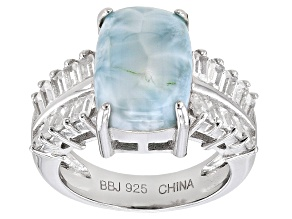 Blue Larimar Sterling Silver Ring. 2.72ctw.