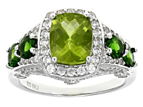 Green Peridot Sterling Silver Ring 3.92ctw