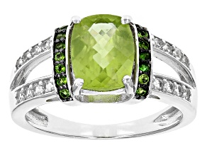 Green Peridot Sterling Silver Ring 2.02ctw