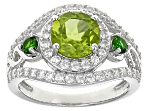 Green Peridot Sterling Silver Ring 2.92ctw