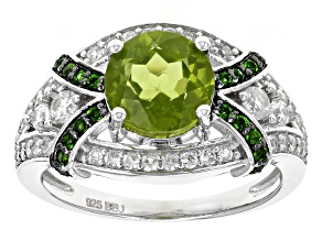 Green Peridot Sterling Silver Ring 2.99ctw
