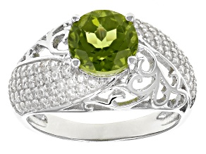 Green Peridot Sterling Silver Ring 2.98ctw