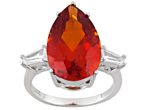 Orange Lab Created Padparadscha Sapphire Sterling Silver Ring 9.57ctw