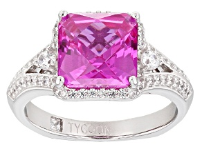 Lab Created Pink Sapphire And White Cubic Zirconia Platineve Ring 4.20ctw