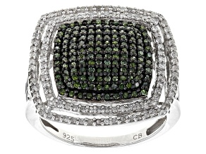 Green And White Diamond Rhodium Over Sterling Silver Ring .75ctw