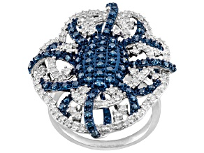 Blue & white diamond silver ring 1.50ctw
