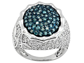 White & Blue Diamond, 2.50ctw Round, Rhodium Over Sterling Silver Ring