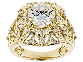Moissanite 14k Yellow Gold Over Sterling Silver Ring 2.60ctw DEW