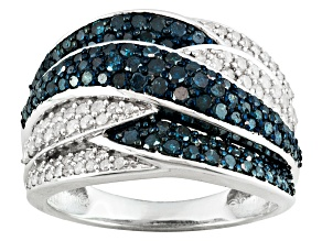 Blue and white diamond silver ring 1.26ctw