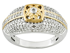 Diamond Rhodium And 18k Over Sterling Silver Ring .65ctw