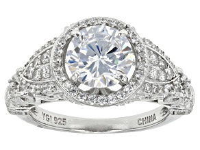 White Cubic Zirconia Rhodium Over Sterling Silver Ring 4.54ctw